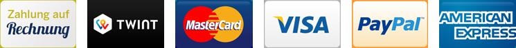 Bezahlen auf Rechnung, Twint, Mastercard, Visa, PayPal, American Express